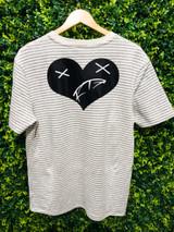 Heart of a Monsta Stripe Tee - Gray/Creme