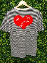 Heart of a Monsta Stripe Tee - Black/Creme