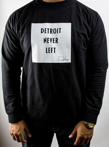 Detroit Never Left™ Unisex Crewneck – Black/White