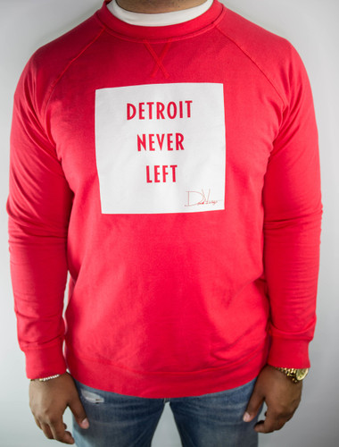 DETROIT NEVER LEFT™ UNISEX CREWNECK – RED/WHITE