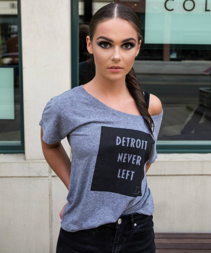 Detroit Never Left™ Wmns Dolman Tee - Grey/Black