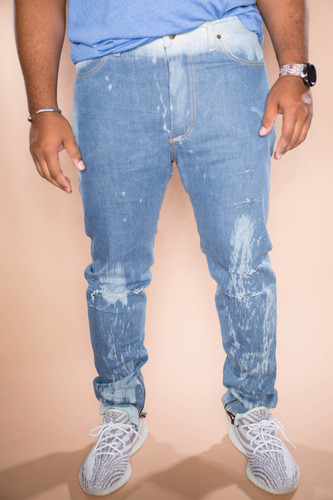 Hand Stained Skinny Stretch Jean - Sky Blue