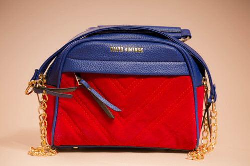 """The """"Not For Sale"""" Bag  - Blue & Red Suede"""