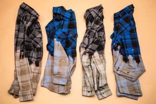 Hand Stained Flannel - Grey