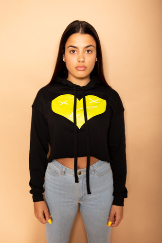 Heart of a Monsta Crop Top Hoodie - Black/Electric Yellow