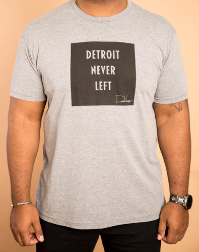 Detroit Never Left™ Unisex Tri-Blend Tee - Gray/Black