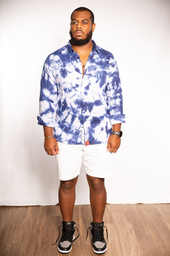 DV x DyeWrkShp Hand Dyed Long Sleeve Linen Button-Up - Space Ocean