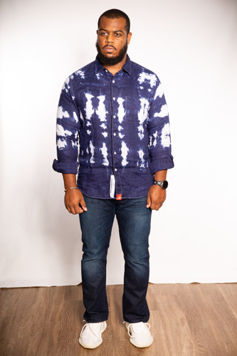 DV x DyeWrkShp Hand Dyed Long Sleeve Linen Button Up - Space Ocean