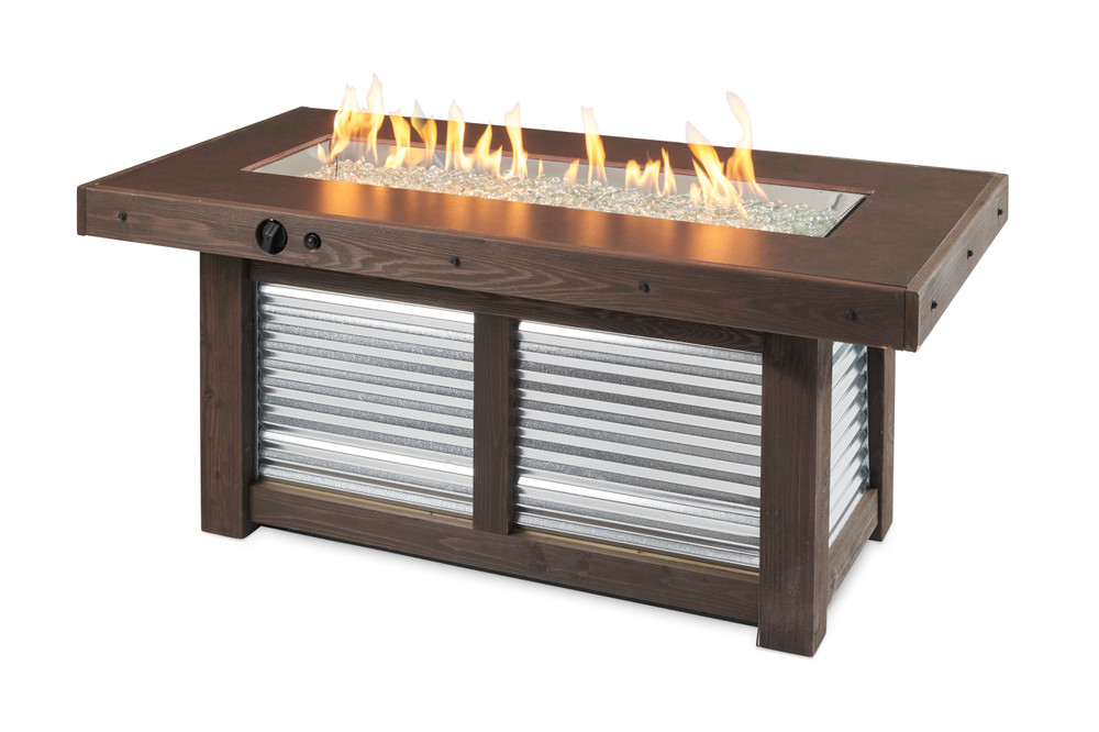Outdoor Great Room Denali Brew Linear Gas Fire Pit Table