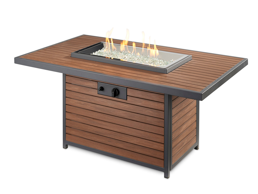 Outdoor Great Room Kenwood Linear Dining Height Gas Fire Pit Table