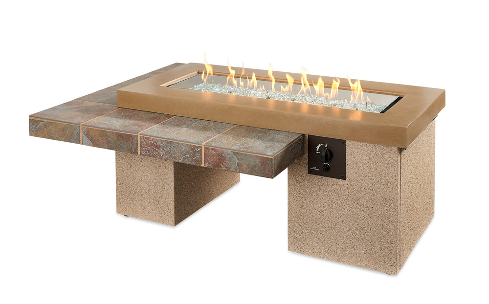 Outdoor Great Room Brown Uptown Linear Gas Fire Pit Table