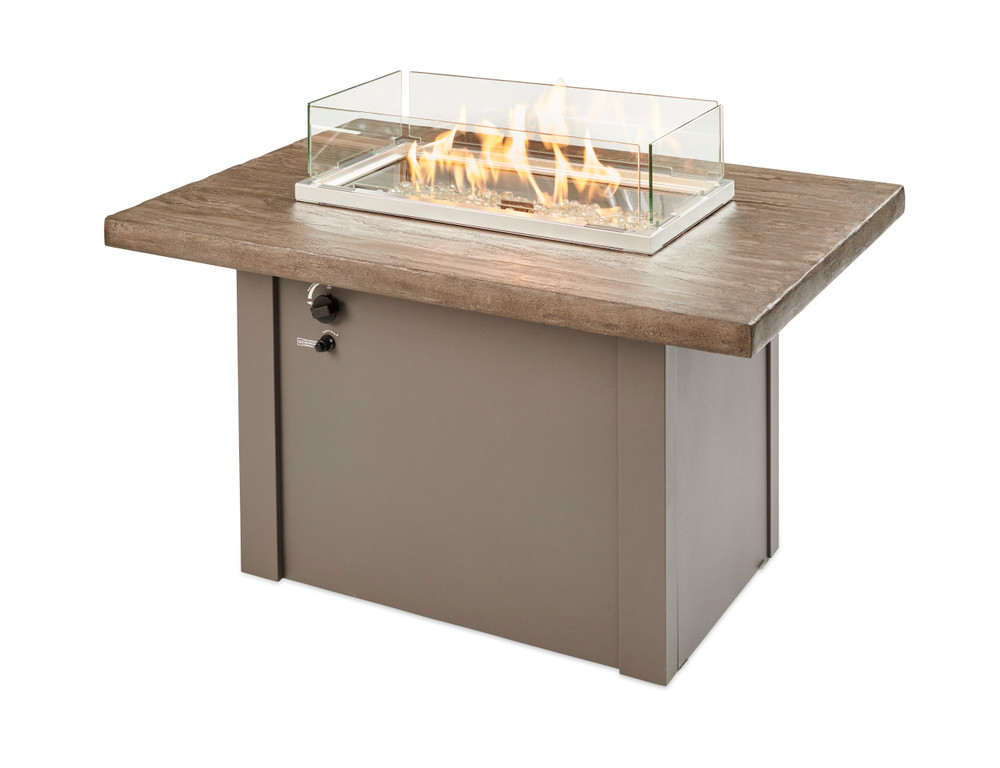 Outdoor Great Room Driftwood Havenwood Rectangular Gas Fire Pit Table with Grey Base