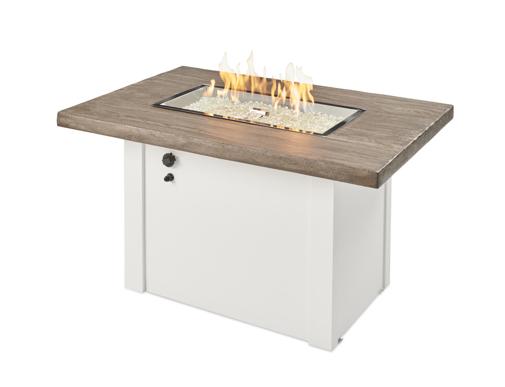 Outdoor Great Room Driftwood Havenwood Rectangular Gas Fire Pit Table with White Base