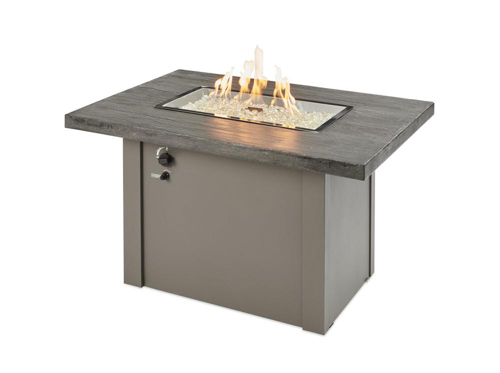 Outdoor Great Room Stone Grey Havenwood Rectangular Gas Fire Pit TableStone Grey Havenwood Rectangular Gas Fire Pit Table with Grey Base