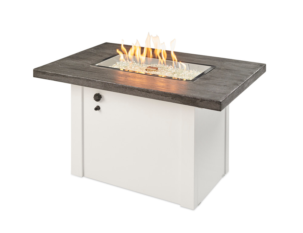 Outdoor Great Room Stone Grey Havenwood Rectangular Gas Fire Pit Table with White Base