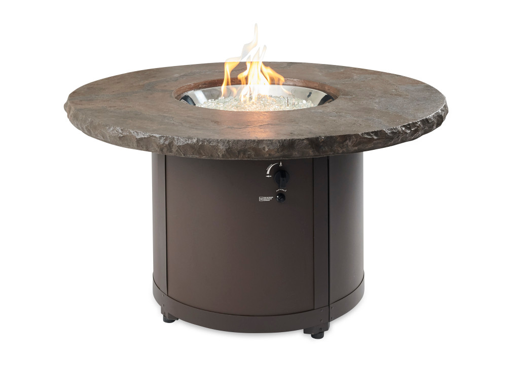 Outdoor Great Room Marbelized Noche Beacon Chat Height Gas Fire Pit Table