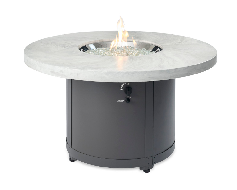 Outdoor Great Room White Onyx Beacon Chat Height Gas Fire Pit Table