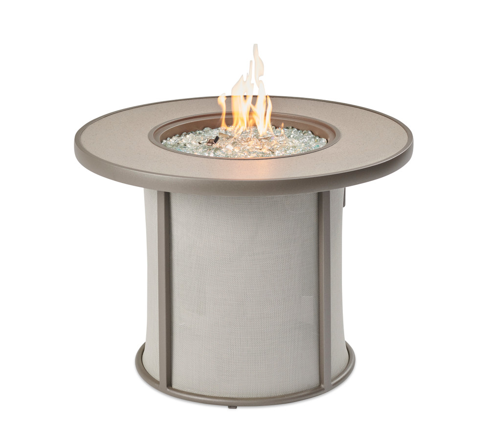 Outdoor Great Room Grey Stonefire Round Gas Fire Pit Table