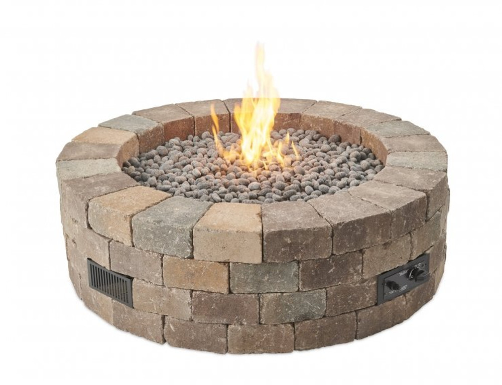 Outdoor Great Room Bronson Block Round Gas Fire Pit Kit