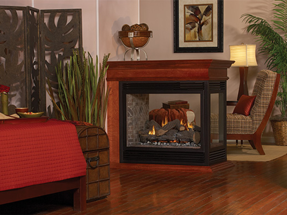 "American Hearth Madison Peninsula/See-Through Premium 36"" Gas Fireplace"