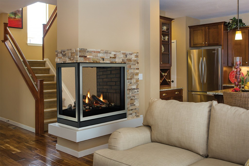 """American Hearth Madison Clean-Face  Peninsula/See-Through 36"""" Gas Fireplace"""