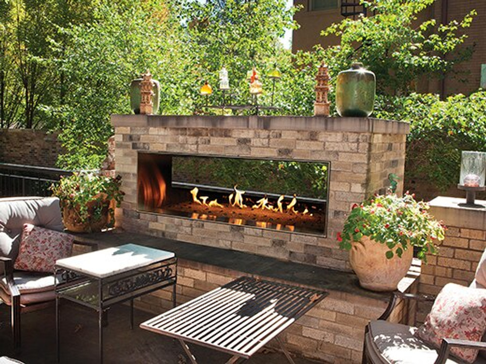 """American Hearth Coral Rose Coastal 60"""" Linear See-Through Outdoor Fireplace"""