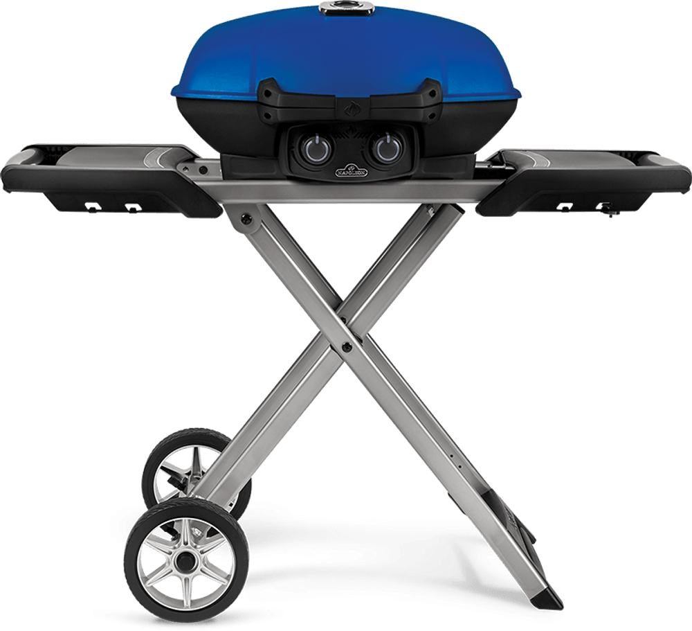 Napoleon TravelQ Pro285X Blue Propane Grill With Scissor Cart
