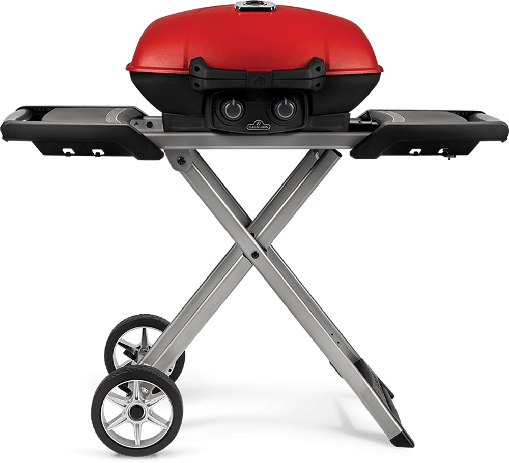 Napoleon TravelQ 285X Red Propane Grill With Scissor Cart And Griddle