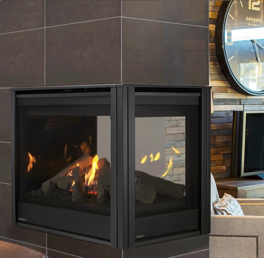 Majestic Pearl II Peninsula 3-Sided Gas Fireplace