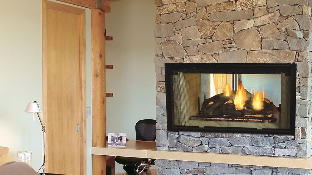 "Majestic Designer Series See-Thru 36"" Wood Fireplace"