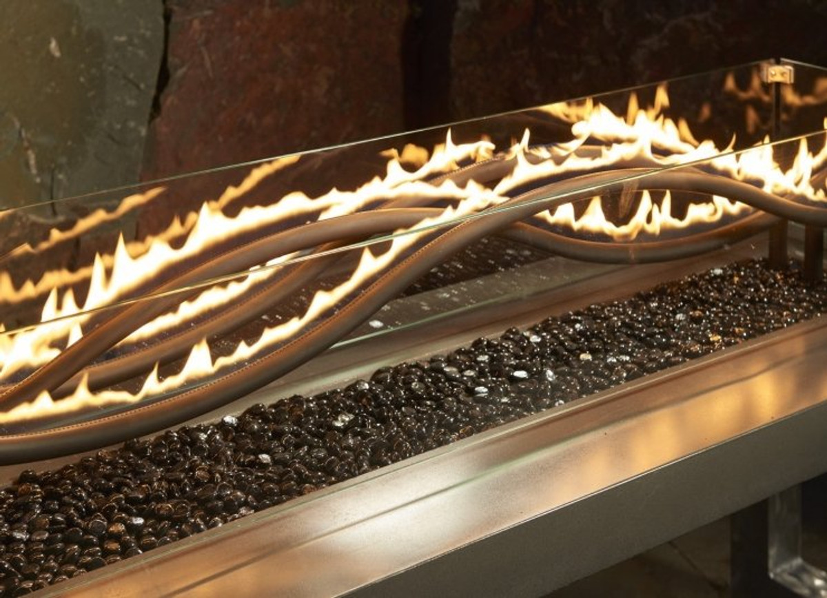 "Outdoor Great Room 56"" Linear Black Wave Crystal Fire® Gas Burner"