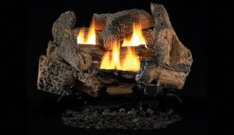 "Superior Double-Flame 24""  Golden Oak Vent Free Log Set"