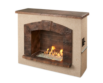Outdoor Great Room Stone Arch Freestanding Gas Fireplace