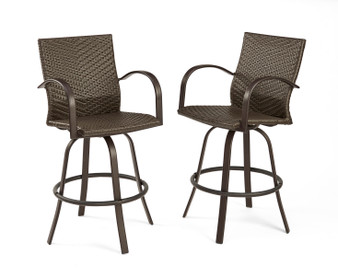 Outdoor Great Room Leather Wicker Bar Stools