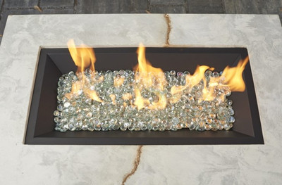 """Outdoor Great Room 12"""" X 24"""" Linear Crystal Fire Plus Gas Burner"""
