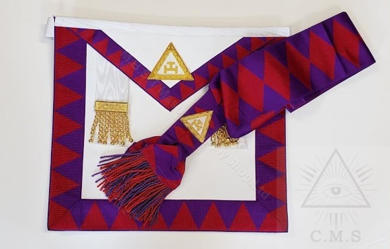 Royal Arch Companion Apron and Sash Set Crimson Red Diamonds on Sash