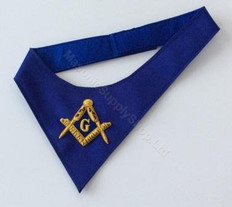 Royal Blue Masonic Cravat     Hand Embroidered