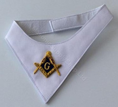 White Masonic Cravat   Hand Embroidered