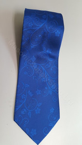 Royal Blue Masonic 100% Silk  Tie with Wreathing and Symbols