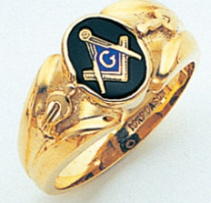 OVAL FACE GOLD MASONIC BLUE LODGE RING WITH CHOICE OF STONE COLOUR