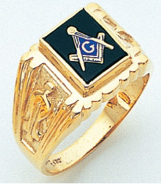 SQUARE FACE GOLD MASONIC BLUE LODGE RING WITH CHOICE OF STONE COLOUR