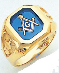 SQUARE FACE GOLD MASONIC BLUE LODGE RING WITH CHOICE OF STONE COLOUR GLCS1155BL