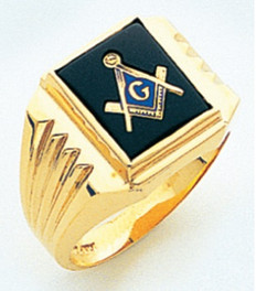 SQUARE FACE GOLD MASONIC BLUE LODGE RING WITH CHOICE OF STONE COLOUR GLCS1171BL