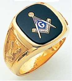 RECTANGULAR FACE GOLD MASONIC BLUE LODGE RING WITH CHOICE OF STONE COLOUR    GLCS1180BL
