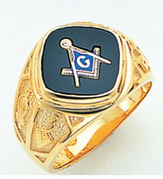 DIAMOND SHAPED FACE GOLD MASONIC BLUE LODGE RING WITH CHOICE OF STONE COLOUR   GLCS159BL