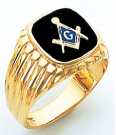 SQUARE FACE GOLD MASONIC BLUE LODGE RING WITH CHOICE OF STONE COLOUR HOM389BL