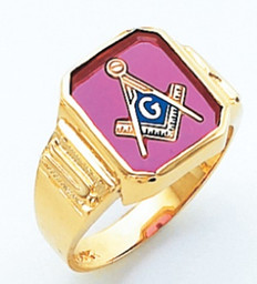 SQUARE FACE GOLD MASONIC BLUE LODGE RING WITH CHOICE OF STONE COLOUR HOM265BL