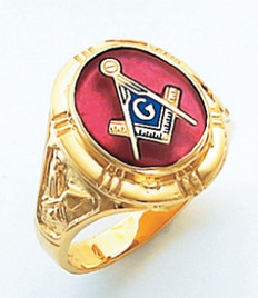 OVAL FACE GOLD MASONIC BLUE LODGE RING WITH CHOICE OF STONE COLOUR  HOM263BL