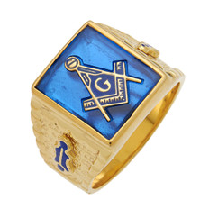 Masonic Gold Ring  Square Face  with Blue Stone  Style 19