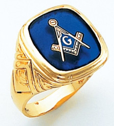 HOM366BL SQUARE FACE GOLD MASONIC BLUE LODGE RING WITH CHOICE OF STONE COLOUR